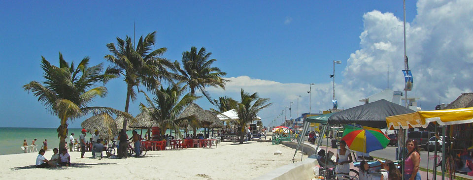 The Malecon, Progreso's beachfront promonade, is filled each weekend with visitors looking for a swim, some fresh fish and a little sunshine.